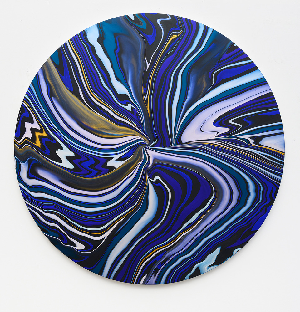 Andy Moses, Geodesy 1504, 2019, acrylic on canvas, 72 inch diameter