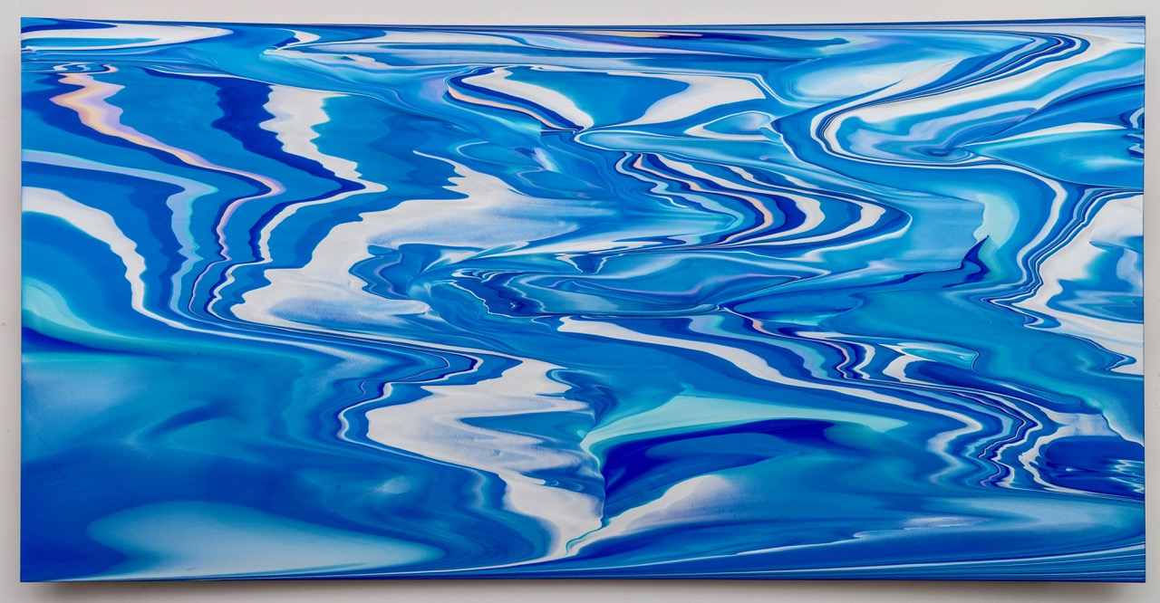 """Andy Moses, Morphology 1105, 2015, acrylic on polycarbonate mounted on concave wood panel, 36"""" x 72"""" x 4.5"""""""