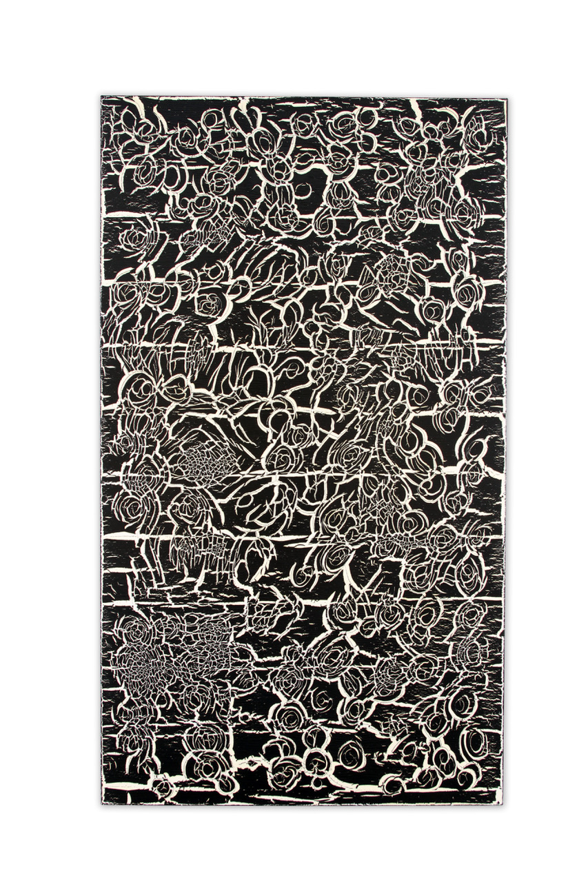 "Ed Moses, Black Over White, acrylic on canvas, 84"" x 48"""
