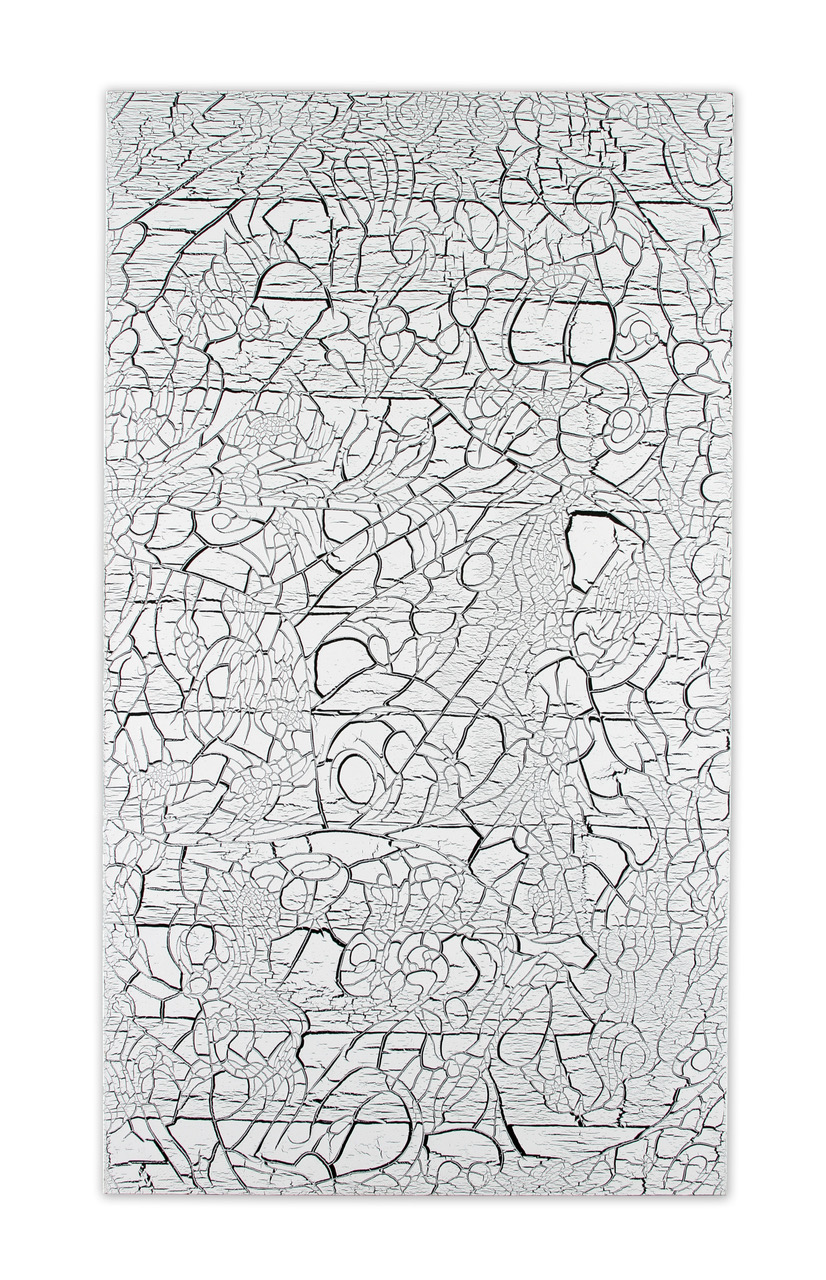 "Ed Moses, White Over Black, acrylic on canvas, 84"" x 48"""