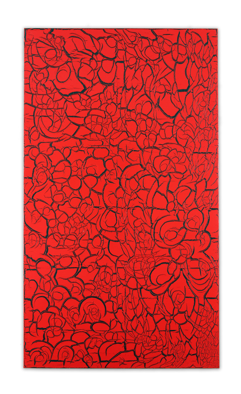 "Ed Moses, Red Over Black, acrylic on canvas, 84"" x 48"""