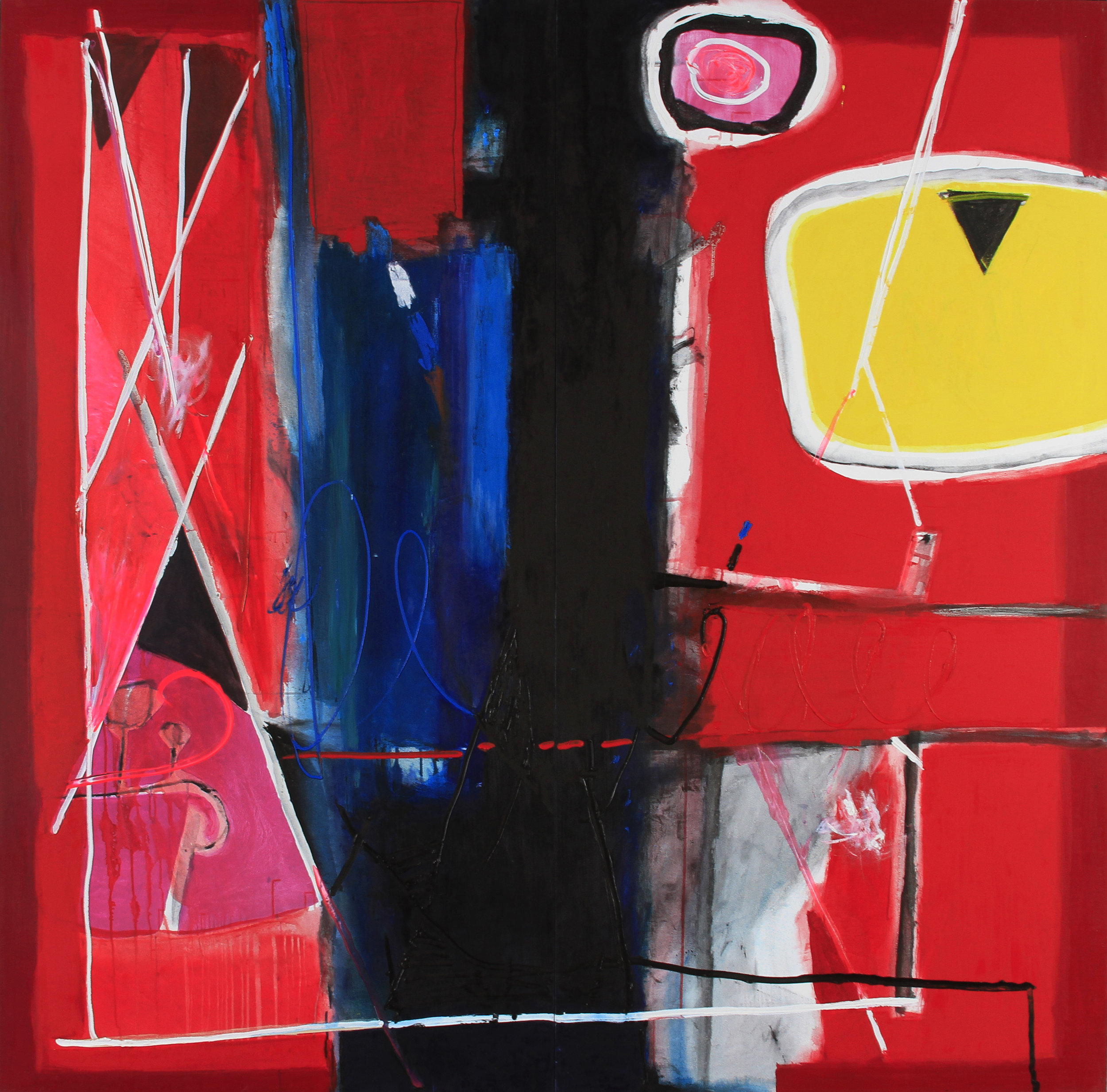 Gustavo Ramos Rivera, Al Mal Tiempo Buena Cara (A Good Face for Bad Times), 2015, oil on canvas, 84 x 84 inches