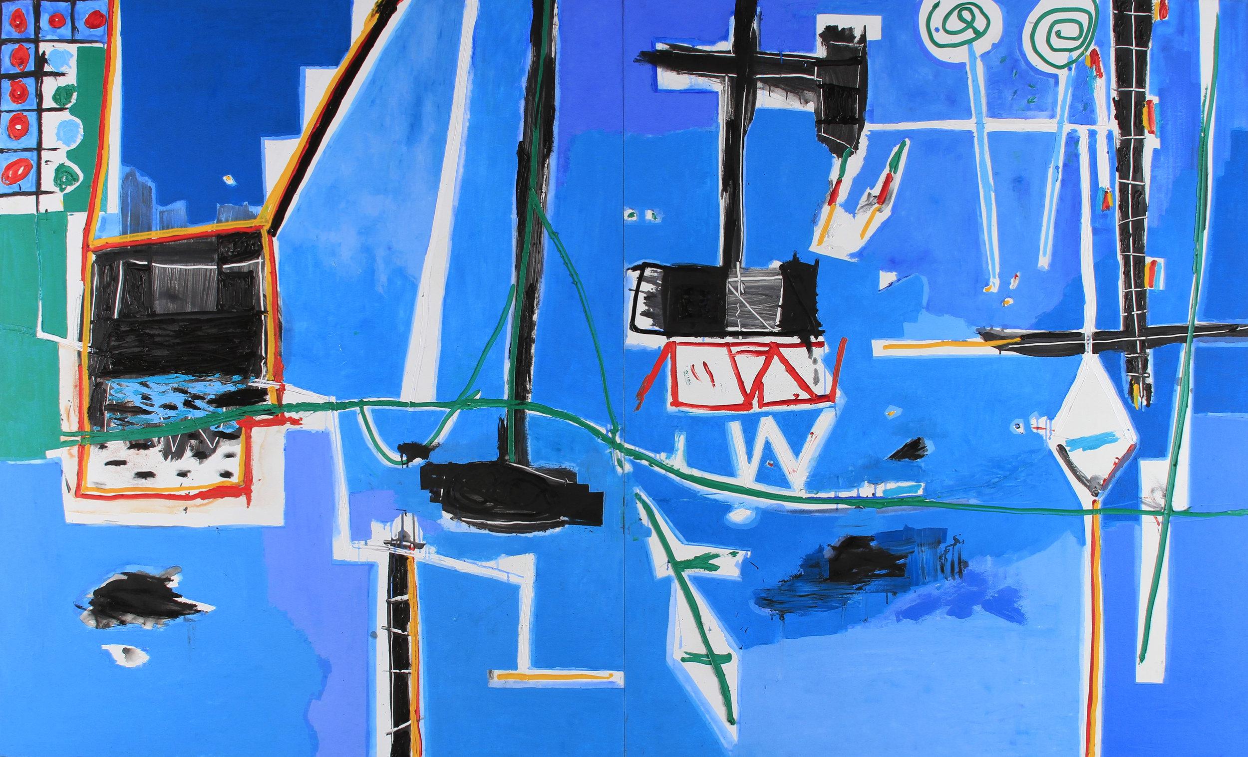 Gustavo Ramos Rivera, Calypso Bay, oil on canvas, 72 x 120 inches