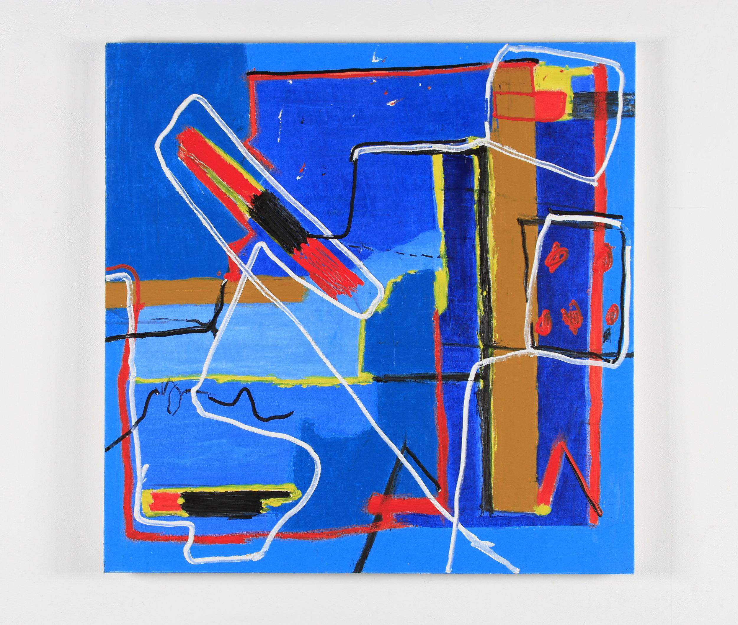 Gustavo Ramos Rivera, Purposeful Ramble, 2015, oil on canvas, 48 x 48 inches