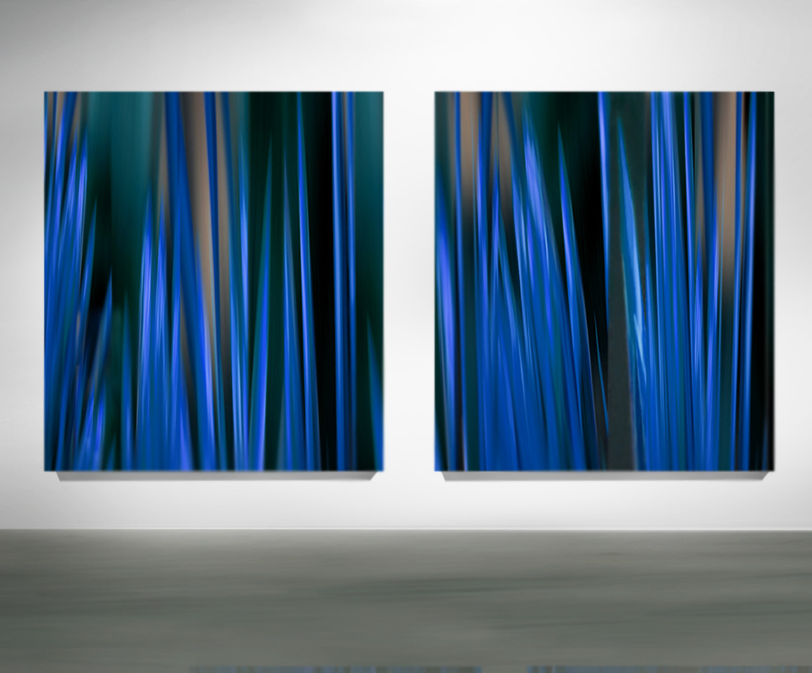 """Michel Tabori, Reflections of the Moon After Midnight, #3 & #4, 2018 Oil, acrylic, resin, canvas on 3 maple panels, 65"""" x 55"""" each"""