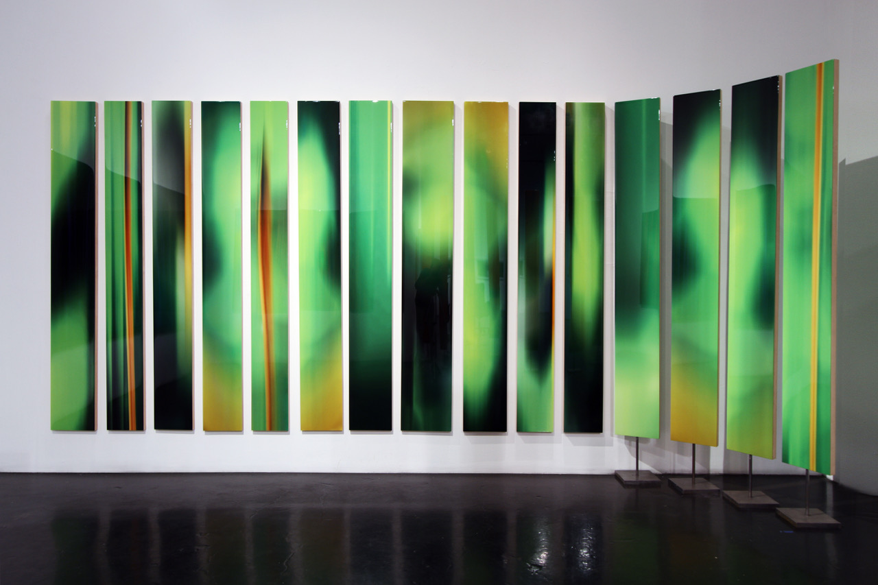 """Michel Tabori, Abstract Forest, 2017, Oil, acrylic, resin, canvas on maple panel, 84"""" x varying widths"""