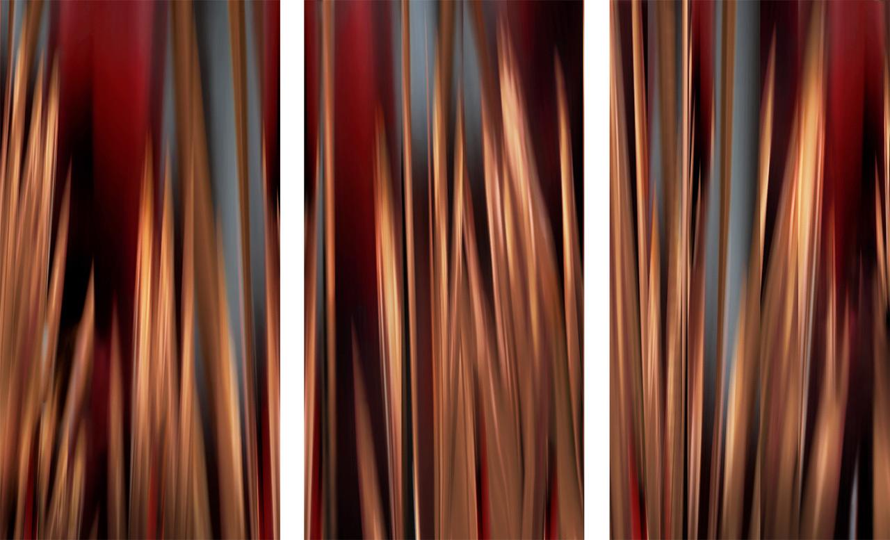 "Michel Tabori, Red Wood Night, 2018, Oil, acrylic, resin, canvas on panel 57"" x 75"""