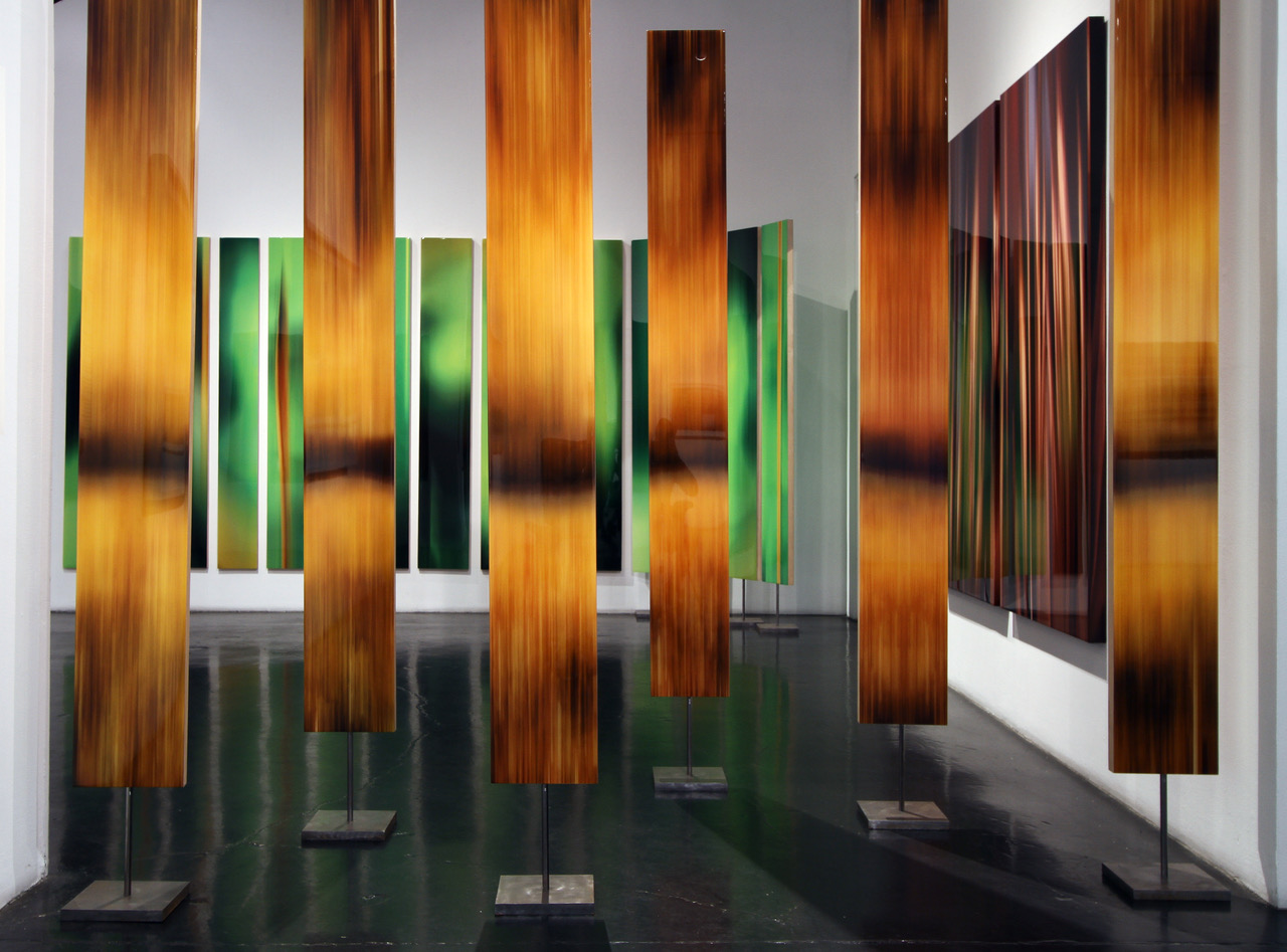"""Michel Tabori, Sequoia, 2017, Oil, acrylic, resin, canvas on two-sided maple panels mounted on steel bases, 84"""" x 10"""" each"""