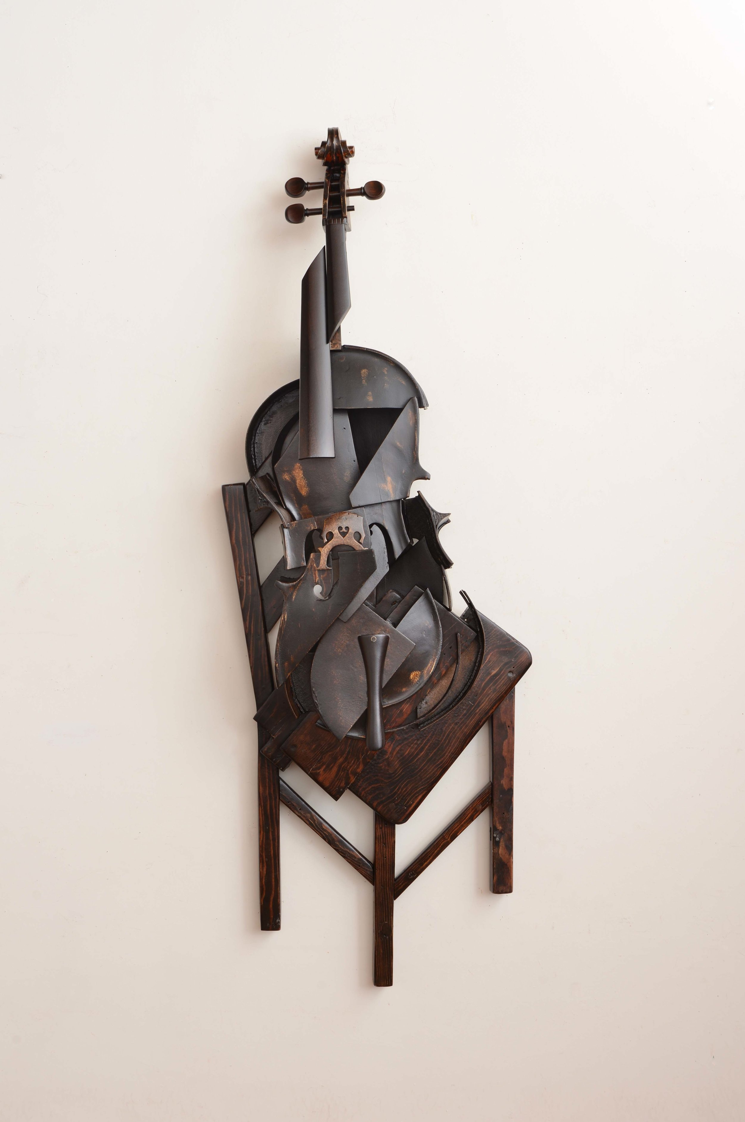 Koji Takei, Cello and Chair 2, 2013, 58x20x8, wood, metal and stain