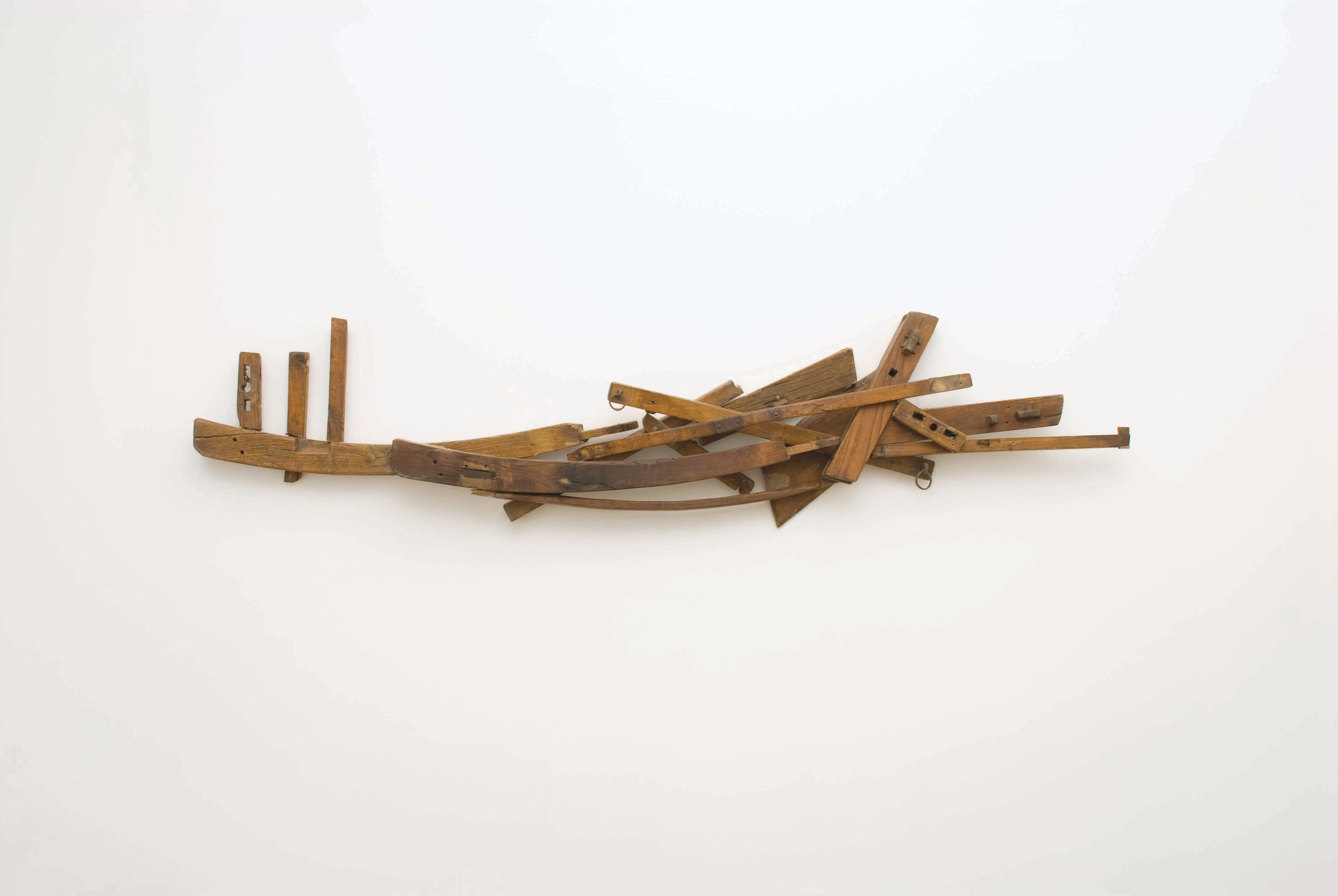 Koji Takei, Untitled, 2009, Stained wood and metal, 24 x 90 x 12""