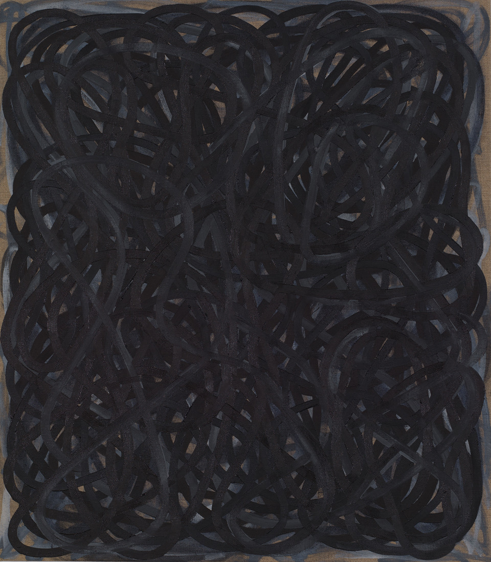 "Charles Arnoldi, Grasp, 2016, oil on linen, 32"" x 28"""