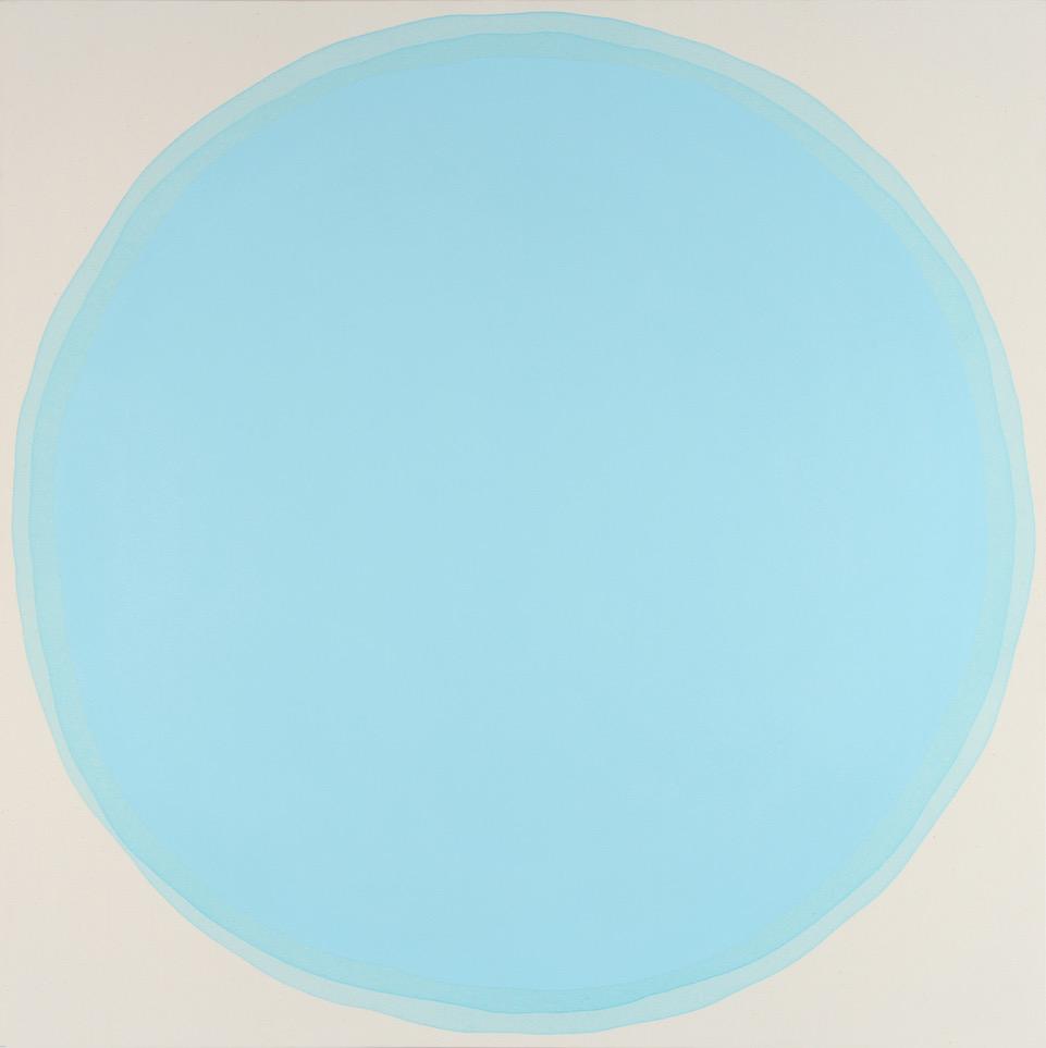 "Dawn Arrowsmith, Robin Blue, acrylic on canvas, 42""x 42"""
