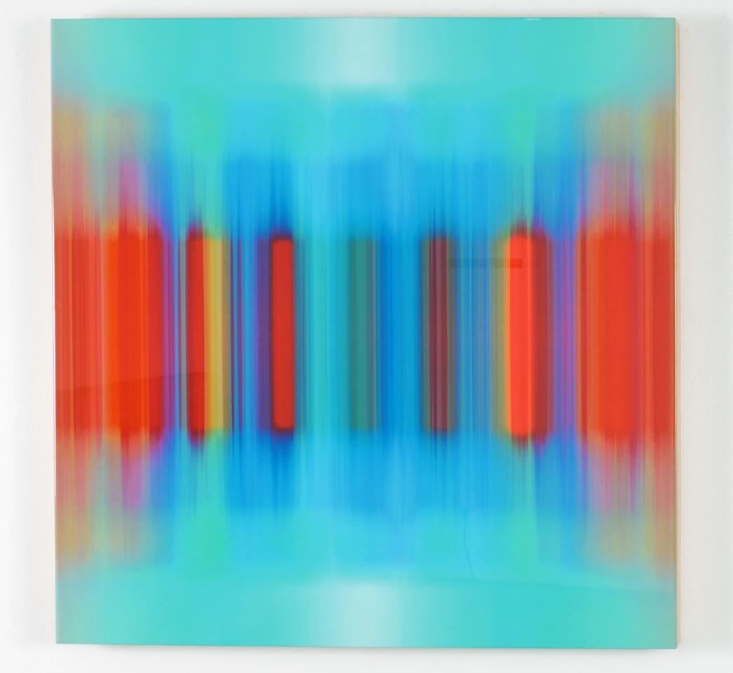 """Franco Defrancesca, Vibratorium, 2014, mixed media and resin on panel, 42"""" x 42"""""""