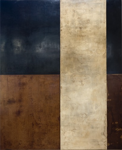 Kris Cox, Bone Column Diptych, pigmented wood putty and mixed media, 116 x 95 x 2 inches (2 vertical panels)