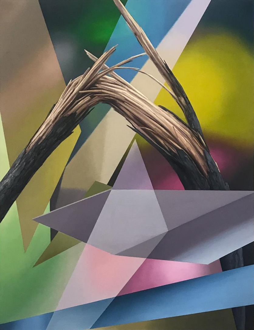 "Javier Peláez, Broken Tree #3, 2019, oil on linen, 63""x47"""