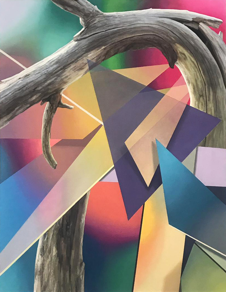 "Javier Peláez, Broken Tree #4, 2019, oil on linen, 63""x47"""