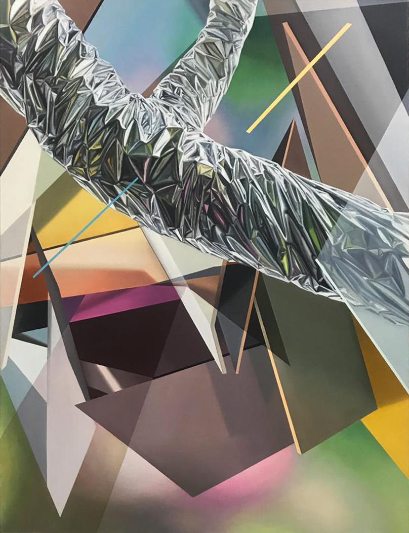 "Javier Peláez, Broken Tree #1, 2019, oil on linen, 63""x47"""