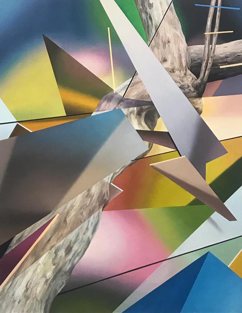 "Javier Peláez, Broken Tree #2, 2019, oil on linen, 63""x47"""