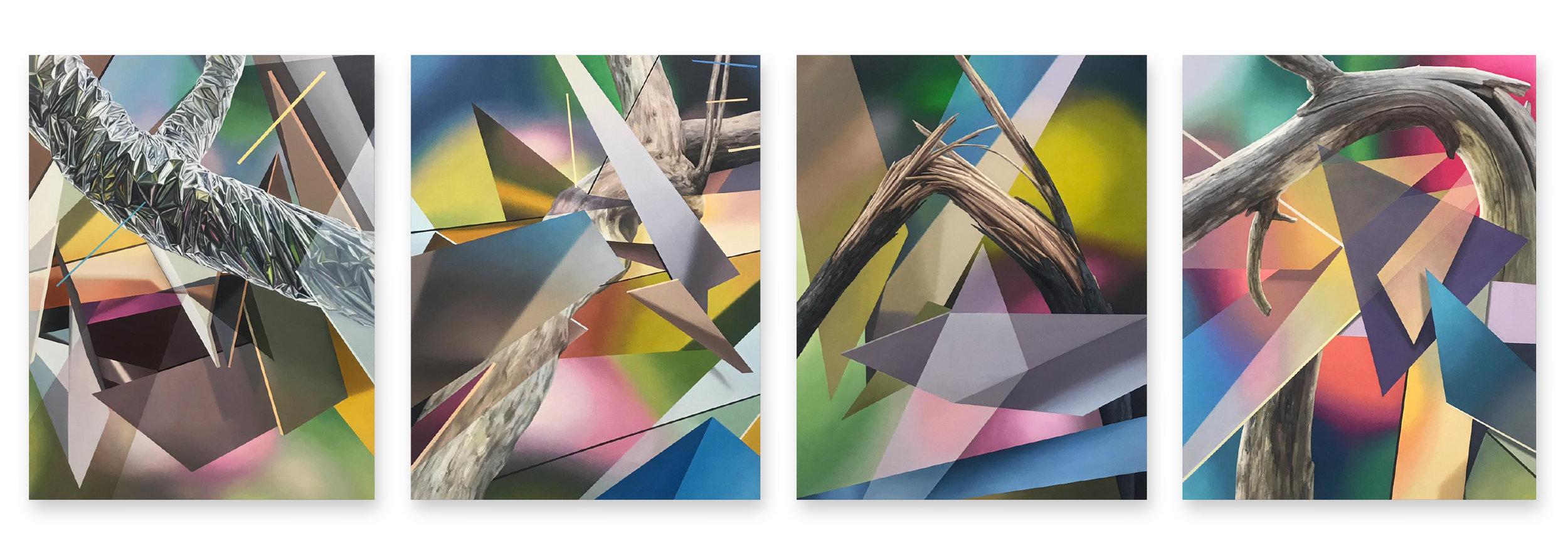"""Javier Peláez, Broken Tree #1, #2, #3, & #4, 2019, oil on linen, 63""""x47"""" each"""