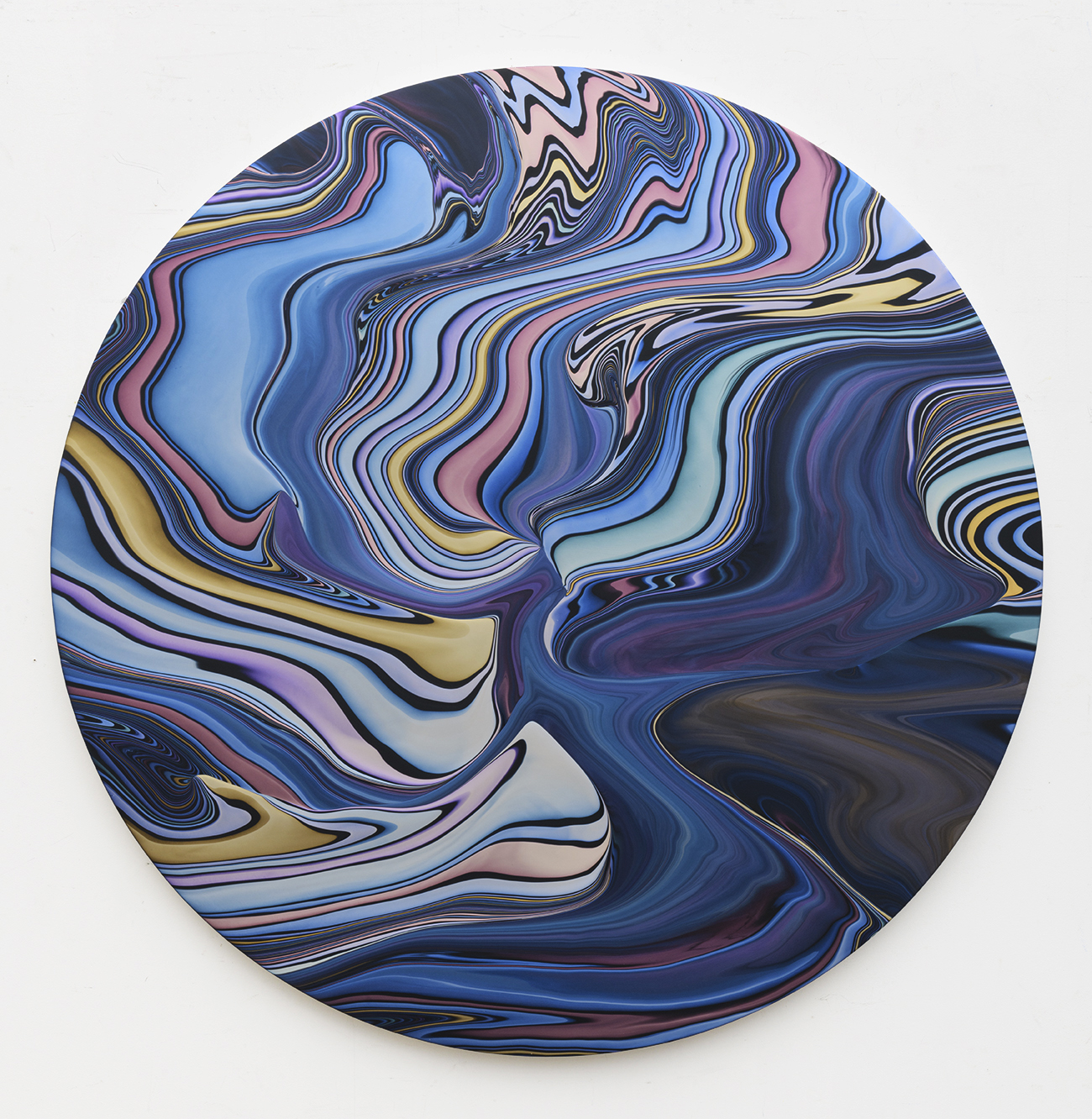Andy Moses, Geodesy 1204, 2018, Acrylic on Circular Canvas, 60 inches diameter