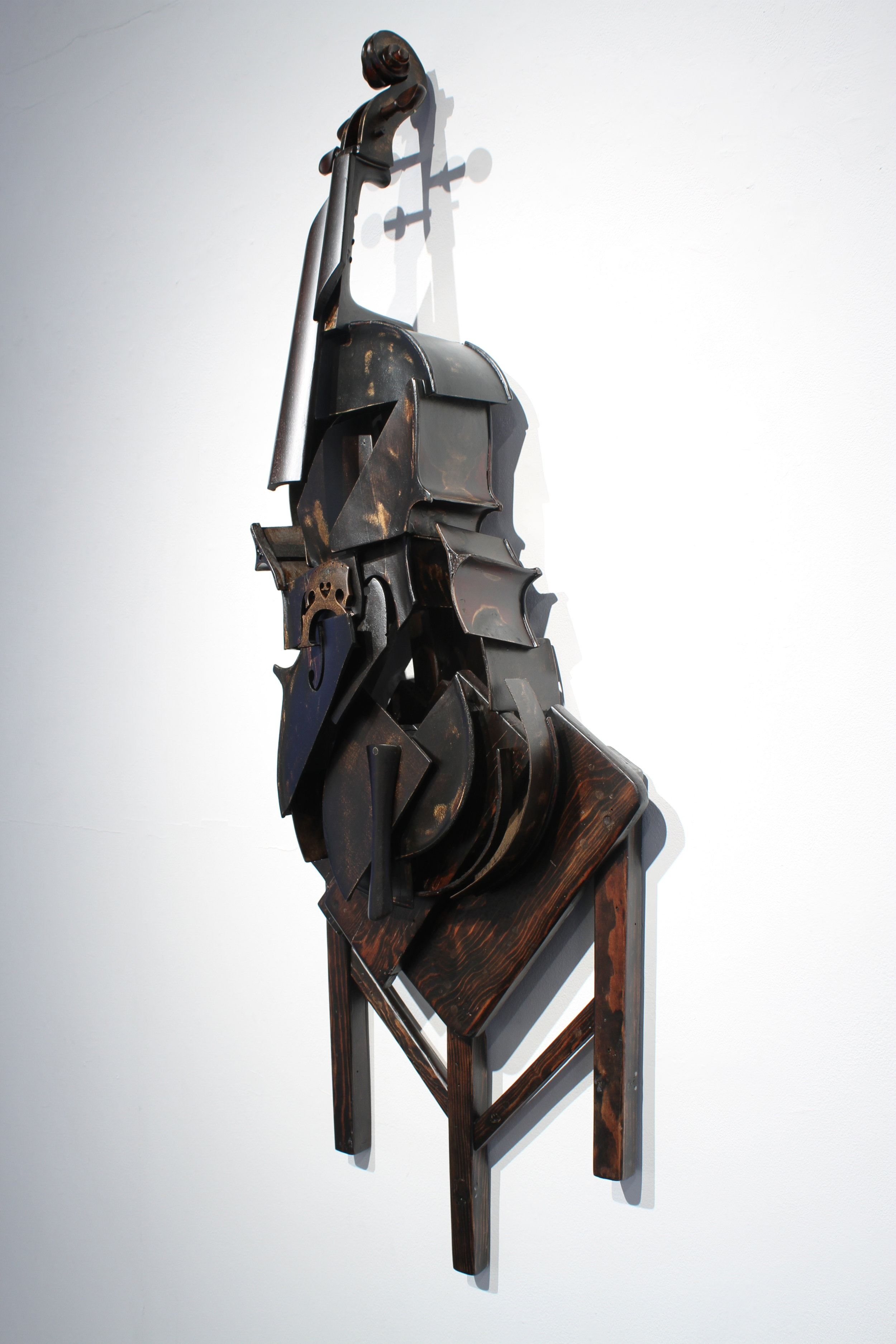 """Koji Takei, Cello and Chair 2, , wood, metal and stain, 2013, 58""""x20""""x8"""""""