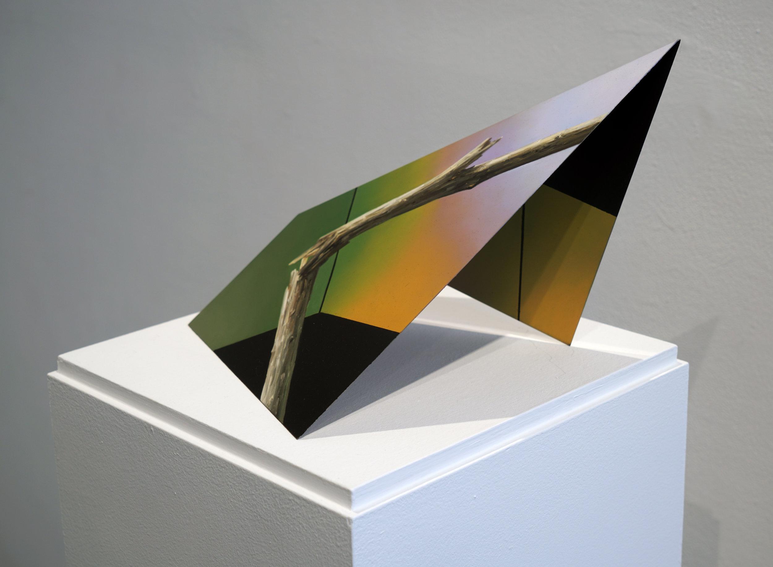"Javier Peláez, Broken Tree #10, 2019, oil on stainless steel, 13""x8""x6"""