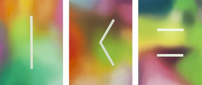 "Javier Peláez Split Triptych, 2019, oil on paper, 34"" x 26"""