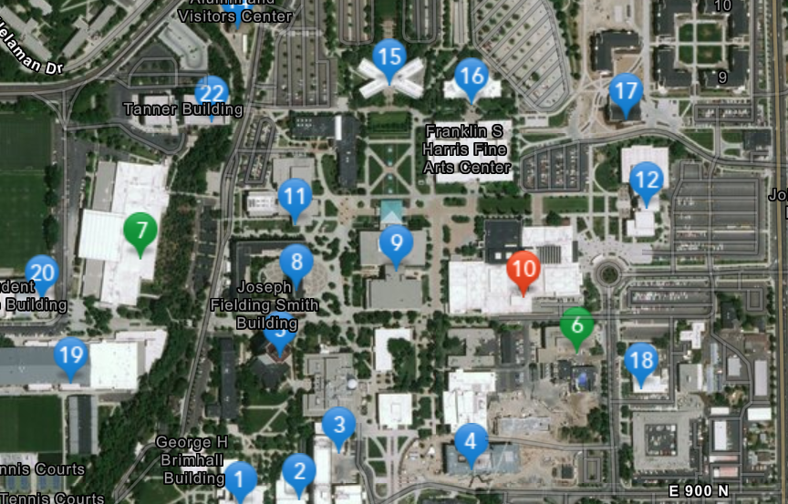 Overhead view of campus with map pins on buildings.