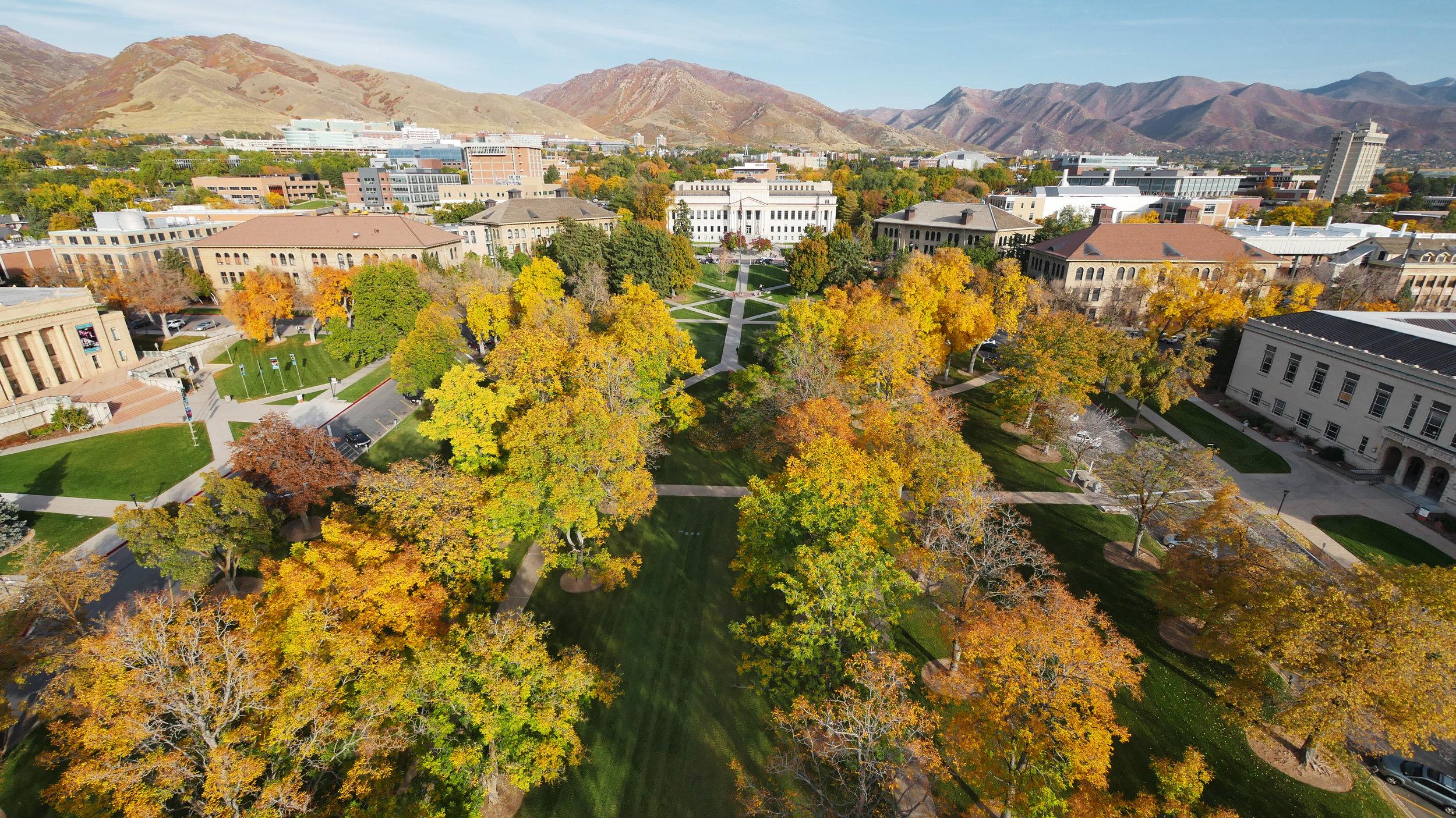 Bird's eye view of BYU campus in autumn.