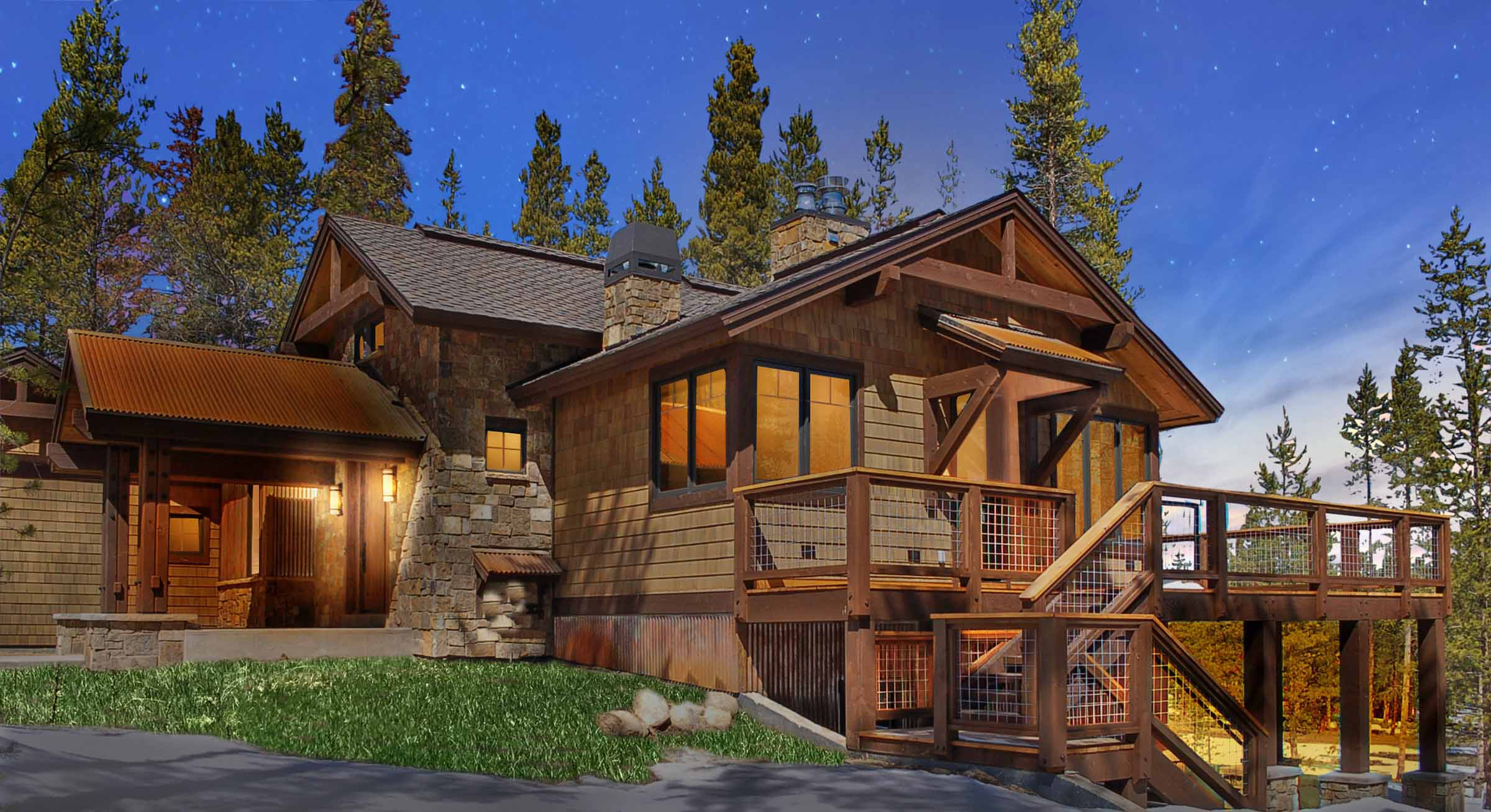 Luxury New Custom Modern Mountain House Front Elevation Castle Rock Co 2.jpg
