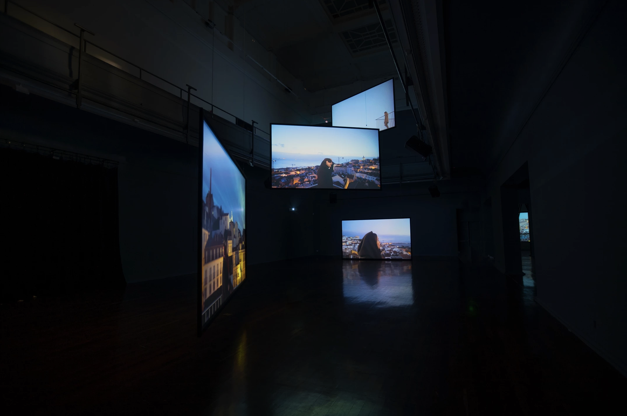 Installation view Perth Institute of Contemporary Art  Forgiving Night for Day  (2017) 7 channel synchronised HD video, 27 minutes