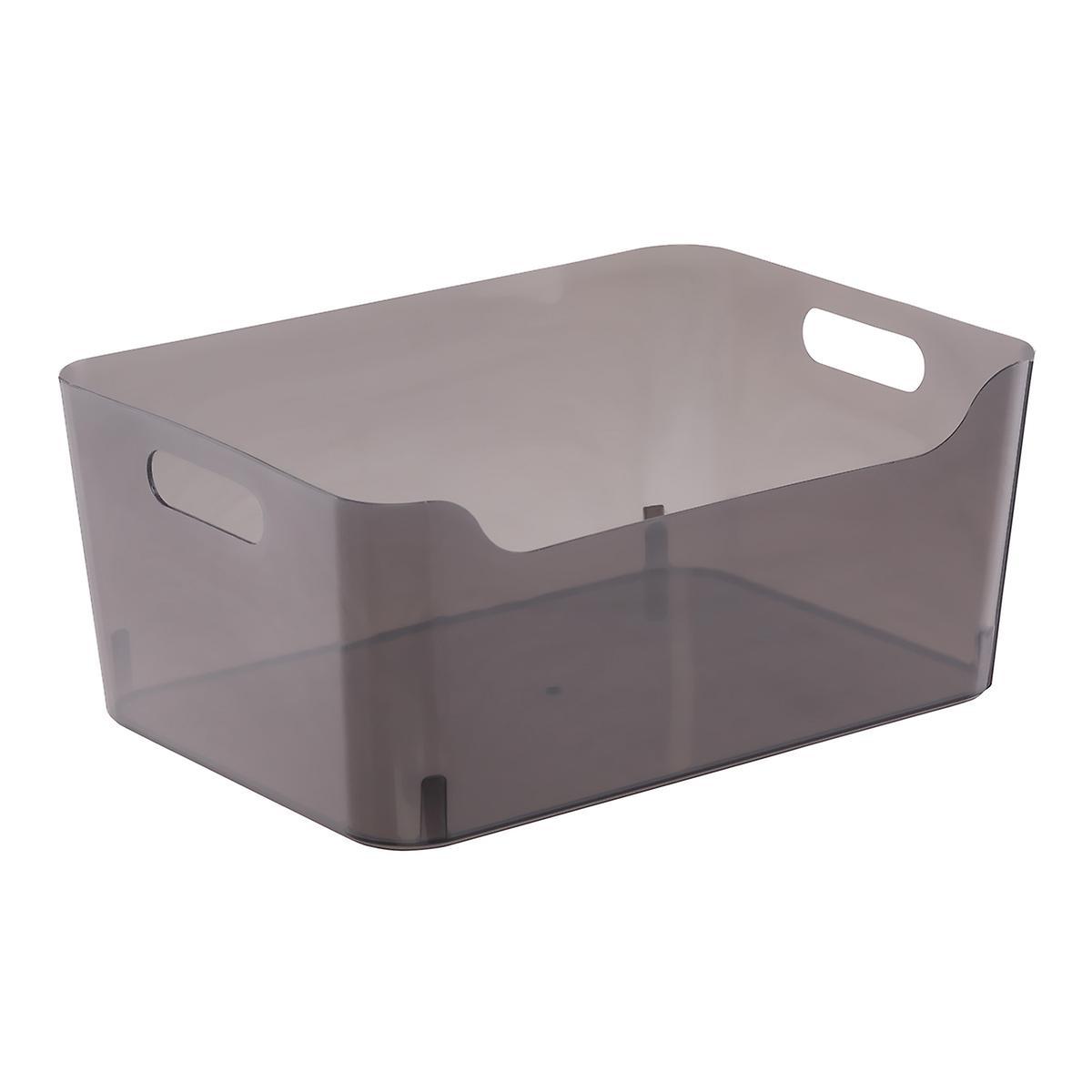 dark clear plastic bins