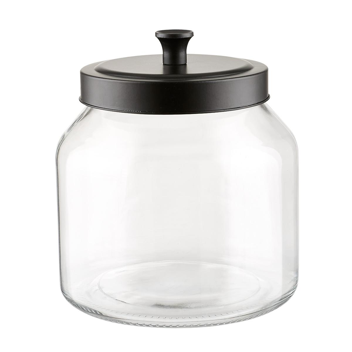 GLASS CANISTERS WITH MATTE BLACK LIDS