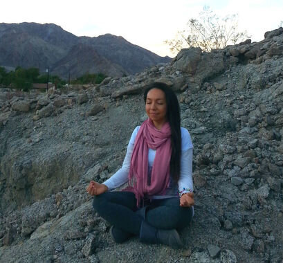 Meditating in the mountains of the Coachella Valley, California
