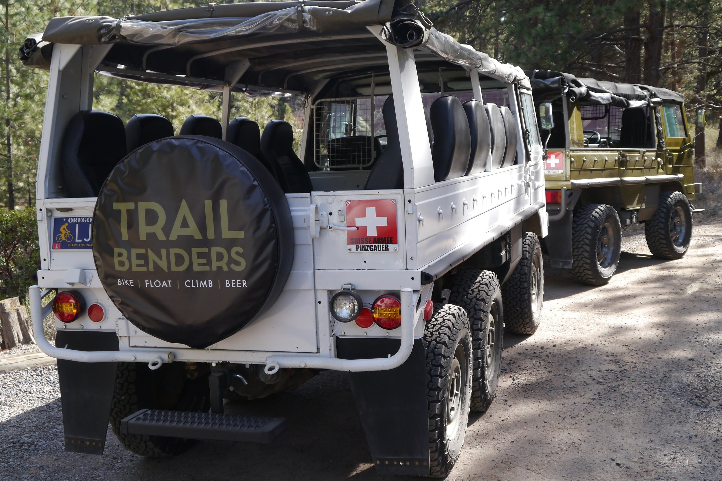 Get picked up. - Select one of our designated meeting points or we can pick you up within 2 miles of downtown Bend. All transportation is provided in a Pinzgauer Swiss Army troop transport vehicle. We have 4x4 and 6x6 models depending on the group size.