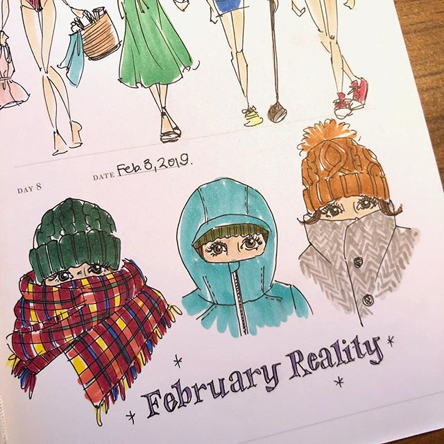Yesterday's #onesketchadayjournal drawings were immediately countered by Seattle's weather. Inspired by a more accurate representation of February's current wardrobe status. #sketchbook #sketch #drawing #winterfashion #bundleup #snowday #knithats #iactuallyknit #lettering #handlettering #illustration