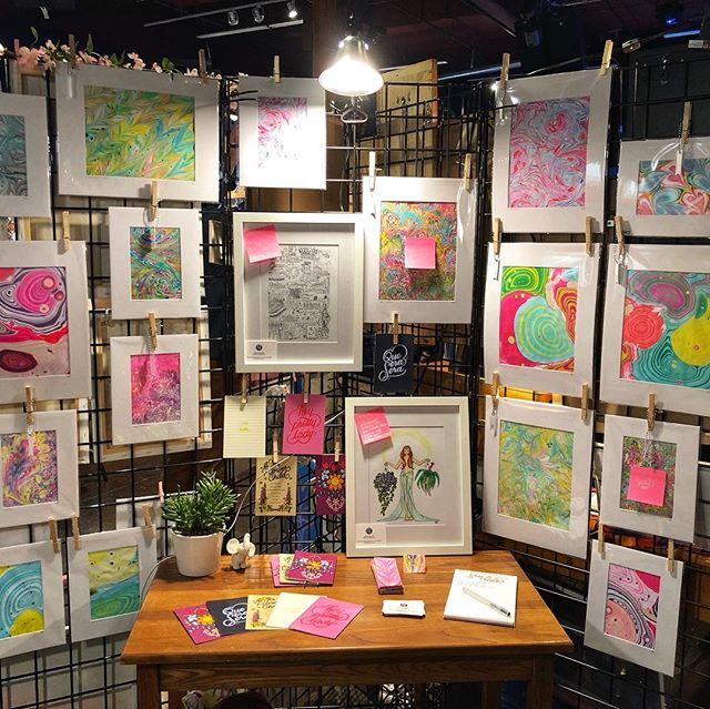 The @rawartists show was a smash! Huge thank you to all who came out/purchased/said hello! I couldn't have asked for a more colorful debut 💚💙💛💜🧡❤️ Now to decide where to show next... 🤔  #rawartists #artista #papermarbling #marbledpaper #firsttime #customart #seattlite #seattlelove #artshow #colorlove #luckyelephant #plantmom