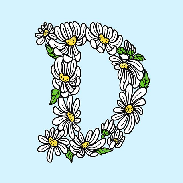 D is for Daisy. Happy birthday cuz!! @fuukdaisysmells, you da coolest 🌼 — #36daysoftype #waybehind #letterer #lettering #artista #d #daisy #flowerchild #procreate #myfamilyisdope