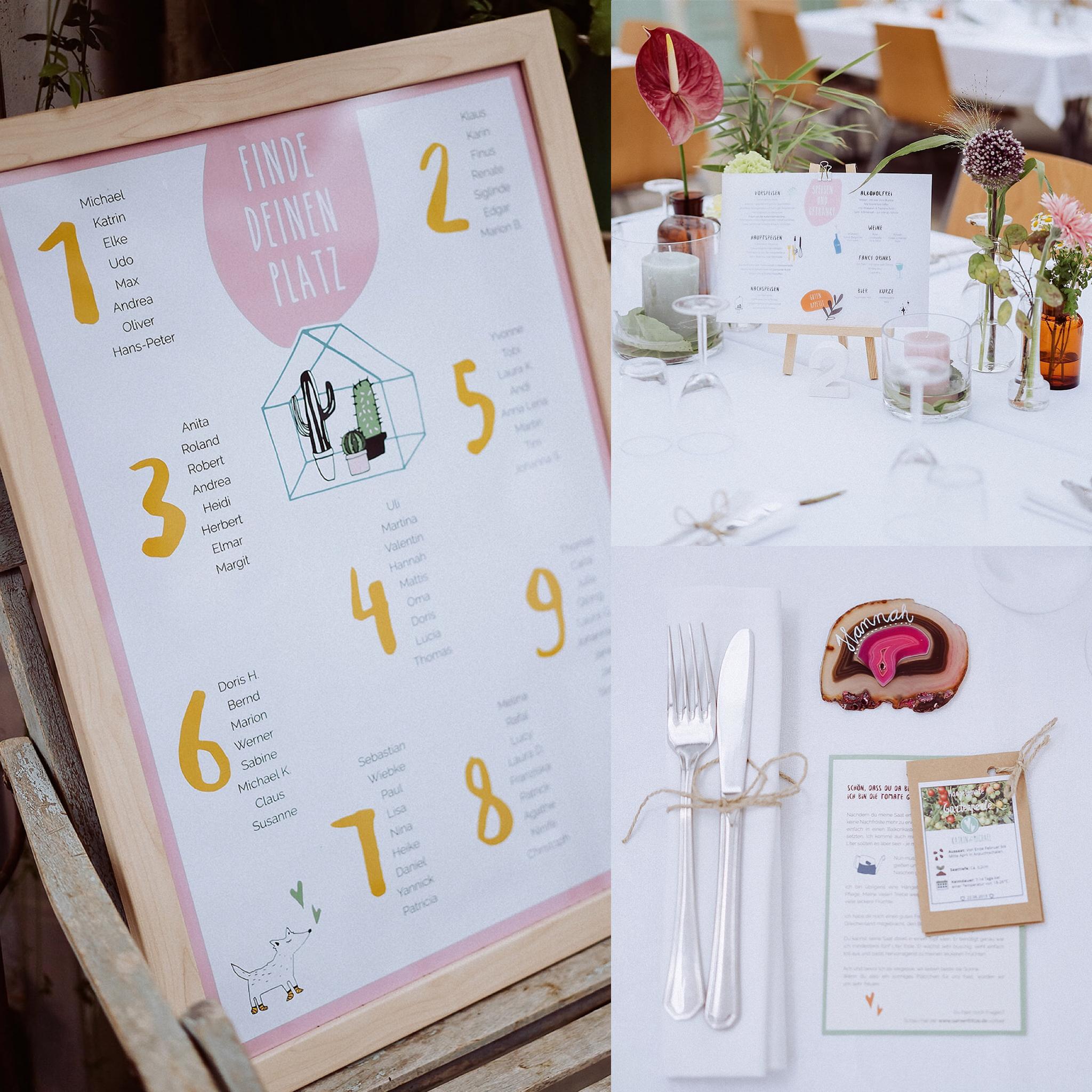 Hochzeitspapeterie: Sitzplan, Menüplan, Gastgeschenk