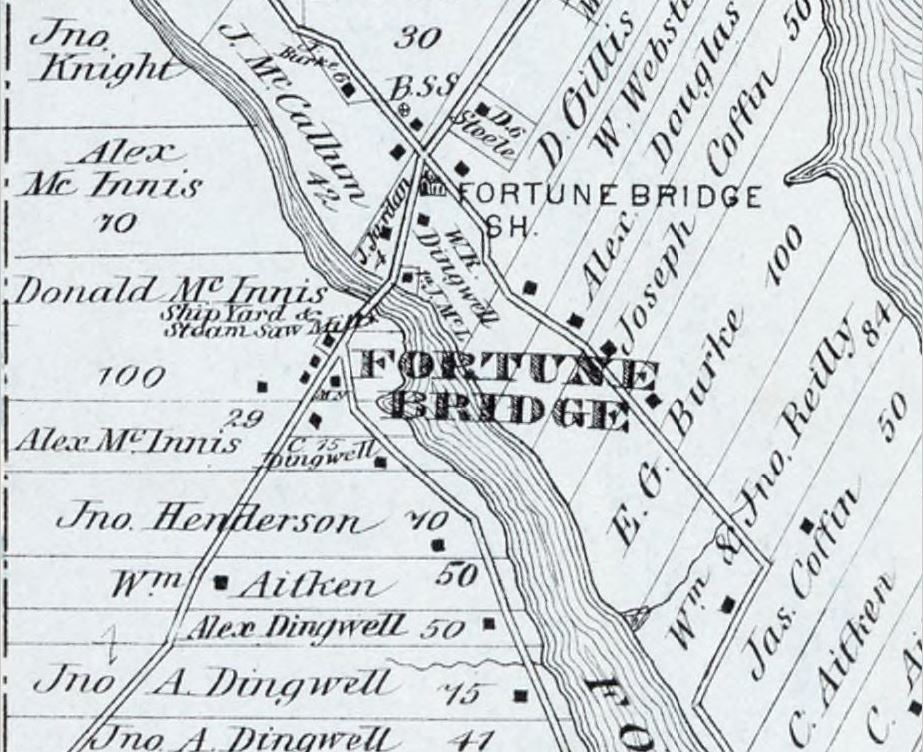 A view of Fortune Bridge, as it appeared in Meacham's Atlas, 1880. The McInnis shipyard is clearly labelled.
