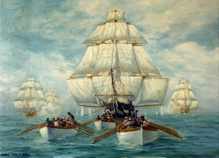 A painting of the HMS Aeolus, which carried Patrick Pearce to Bay Fortune.