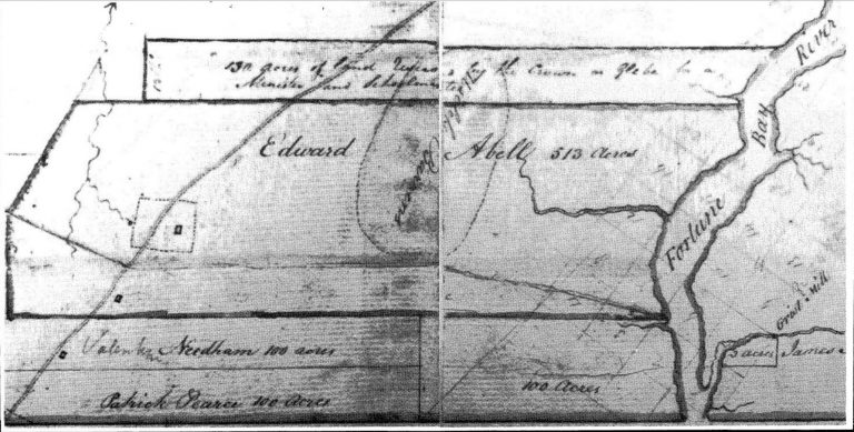 An early nineteenth century property map of Lot 43, showing the properties of both Pearce and Abel.
