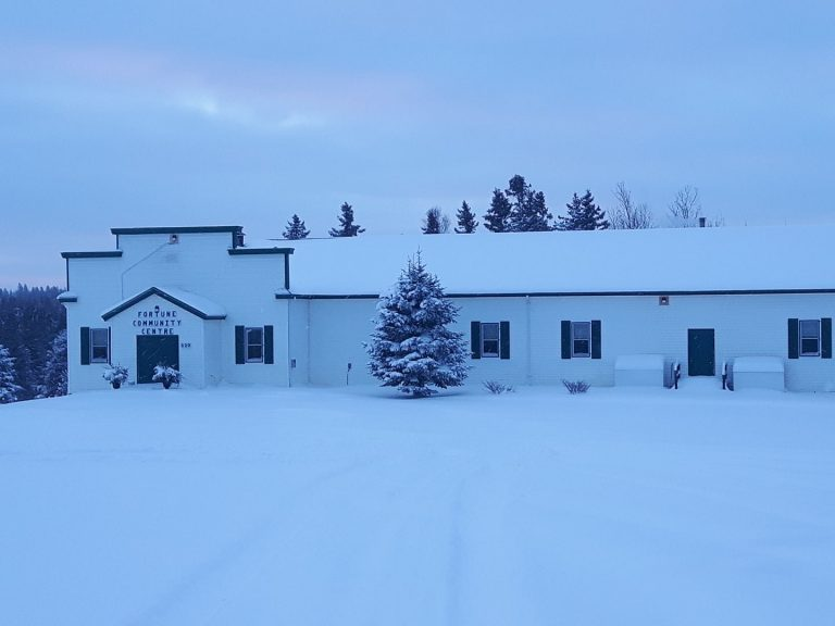 A wintry view of Fortune Hall from the exterior. Note the north facing orientation of the facade.