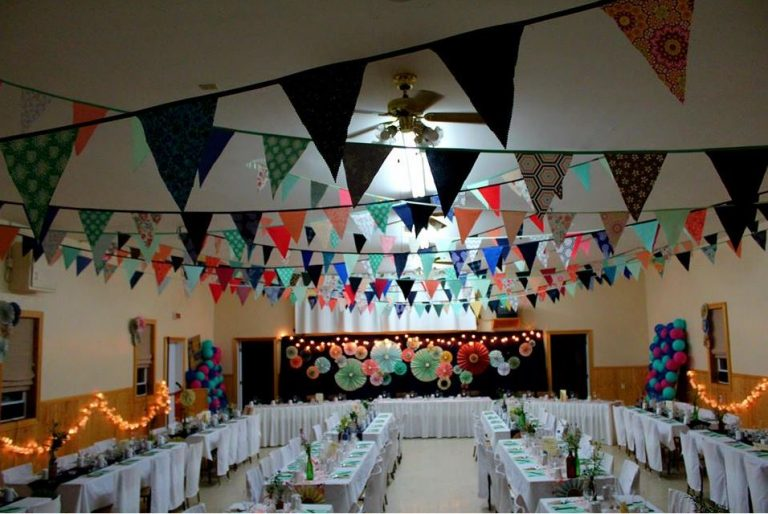 An interior view of Fortune Hall, decorated for a wedding.