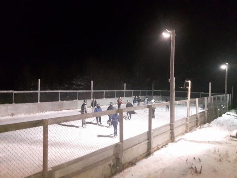 Skating on the outdoor rink