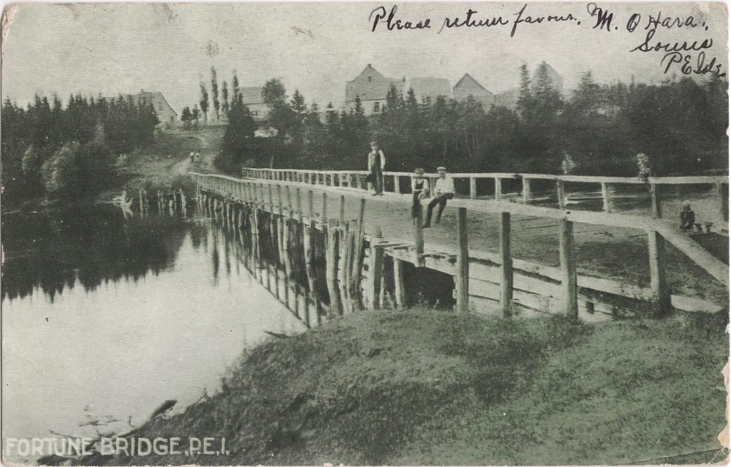 Fortune's first permanent bridge. Date unknown.