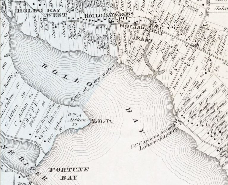 Meacham's Atlas, indicating the road at low tide to Rollo Bay.