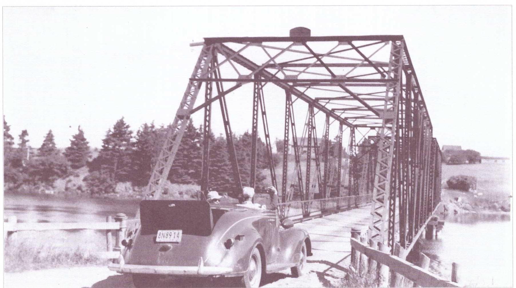 Crossing Fortune Bridge, 1930s.