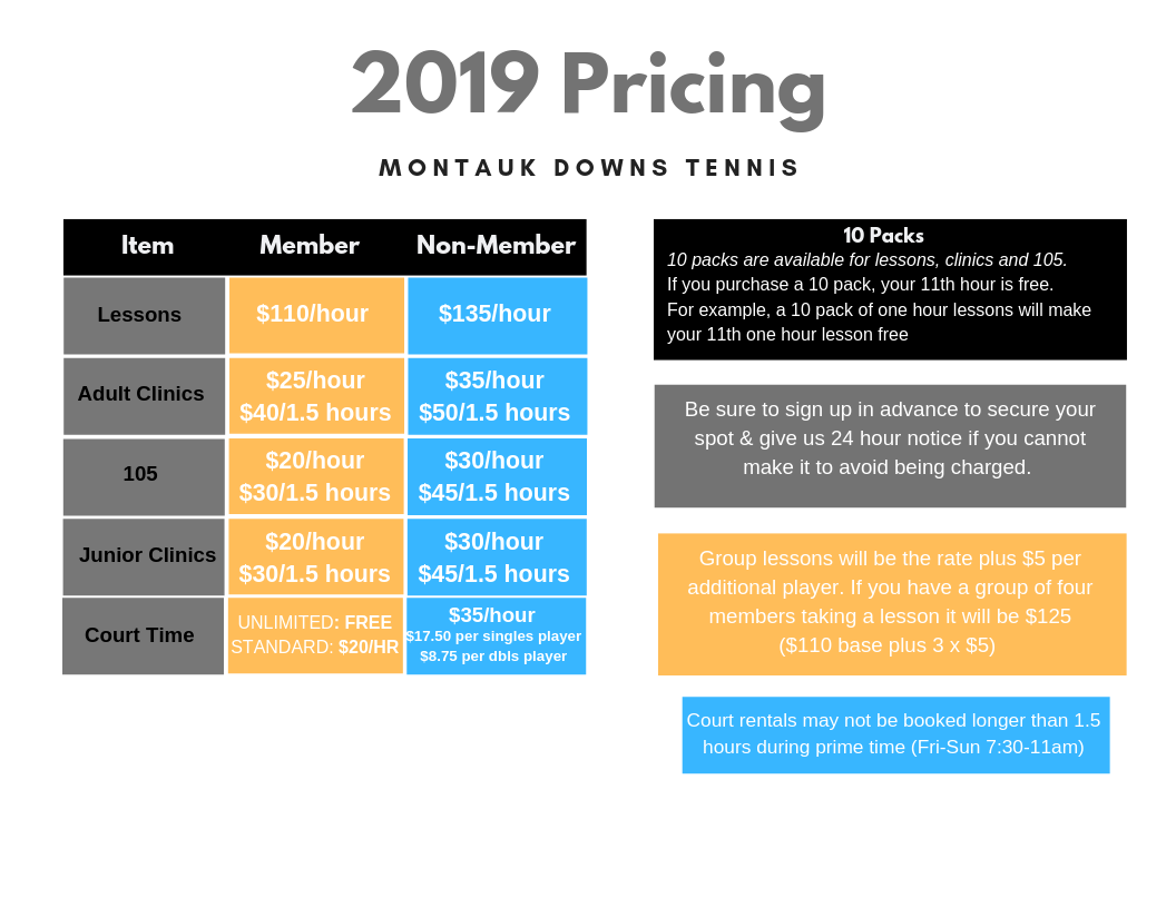 2019 Montauk Downs Tennis Pricing