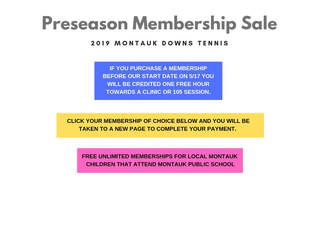 PRESEASON SALE Montauk Downs Tennis 2019